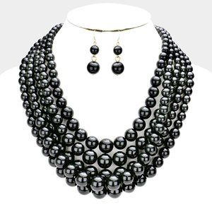 Black and Gold 5row Strand Pearl Necklace